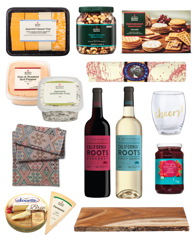 Collage including meats, cheeses, nuts, crackers, dip, wine, raspberry preserves and serveware