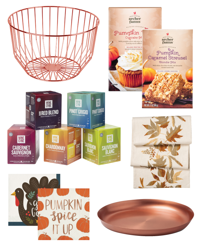 Collage including wire basket, baking mixes, Wine Cubes, napkins, table runner and copper plate