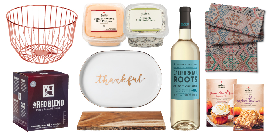 A collage of Thanksgiving finds, from wine to platters and baking kits