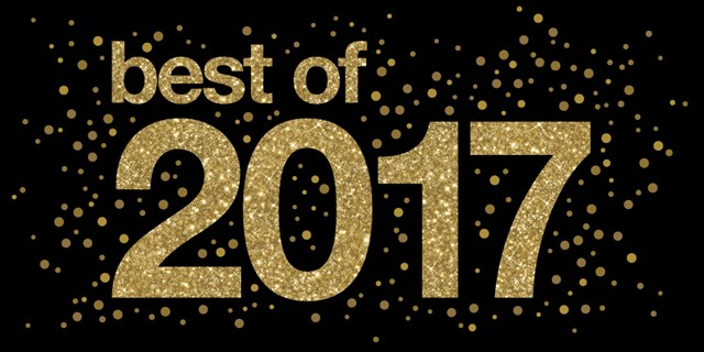 """Best of 2017"" appears in gold against a black background with gold dots"