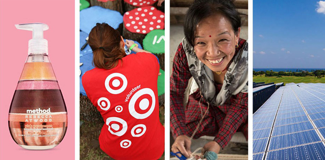A collage of four photos represents a sample of Target's corporate responsibility initiatives