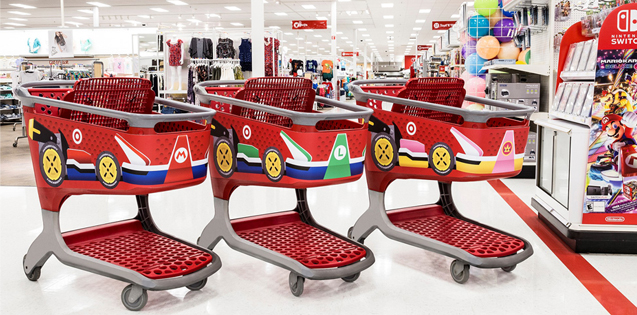 "Three Target carts decked out as ""Mario Karts"""