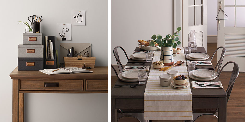 A desk with organizational pieces and a table set with dinnerware and decor from the collection