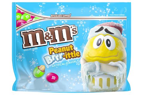 The yellow M&M character shivers on the package of M&M's Peanut Brrr-ittle candy