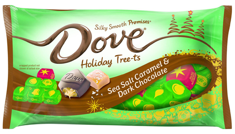 A festive green package of Dove holiday tree-ts