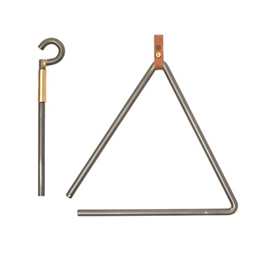 A silver metal hanging triangle