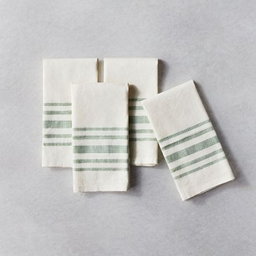 Cream colored towels with blue stripes