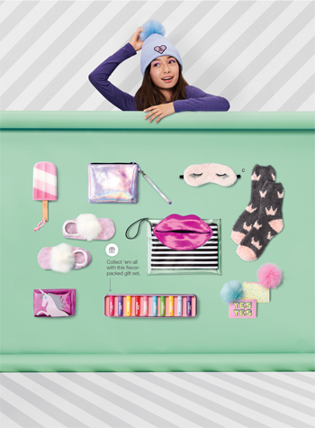 A teen girl along side a gifting collection