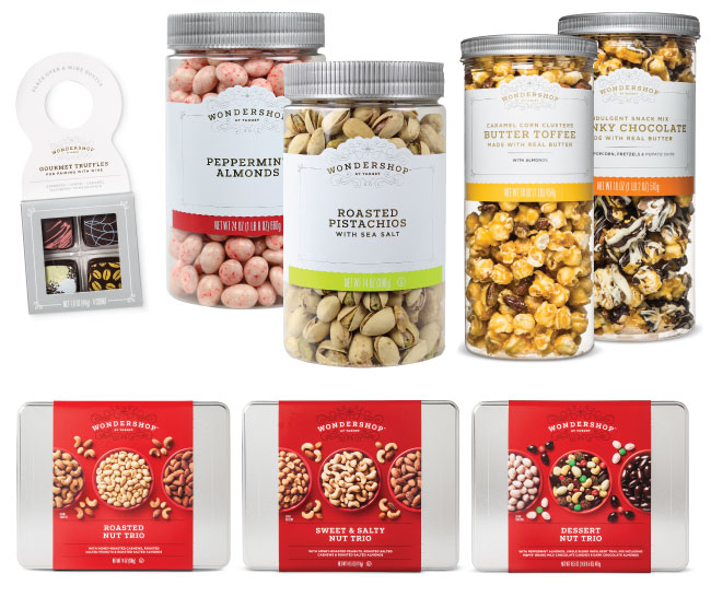 Wondershop snacks including nuts, caramel corn, coated almonds and truffles