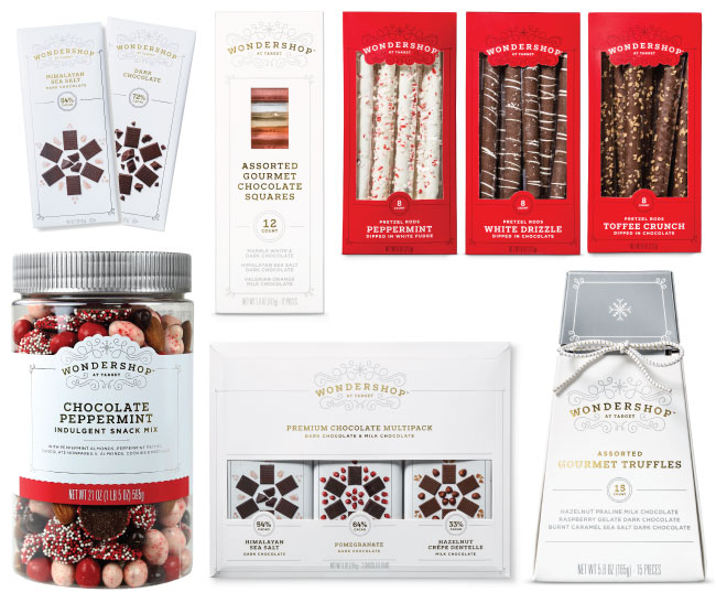 Chocolate Wondershop snacks, including bars, squares, pretzels, truffles and snack mix