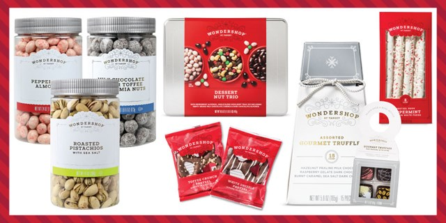A variety of Wondershop snacks, from truffles and coated almonds to nuts and more