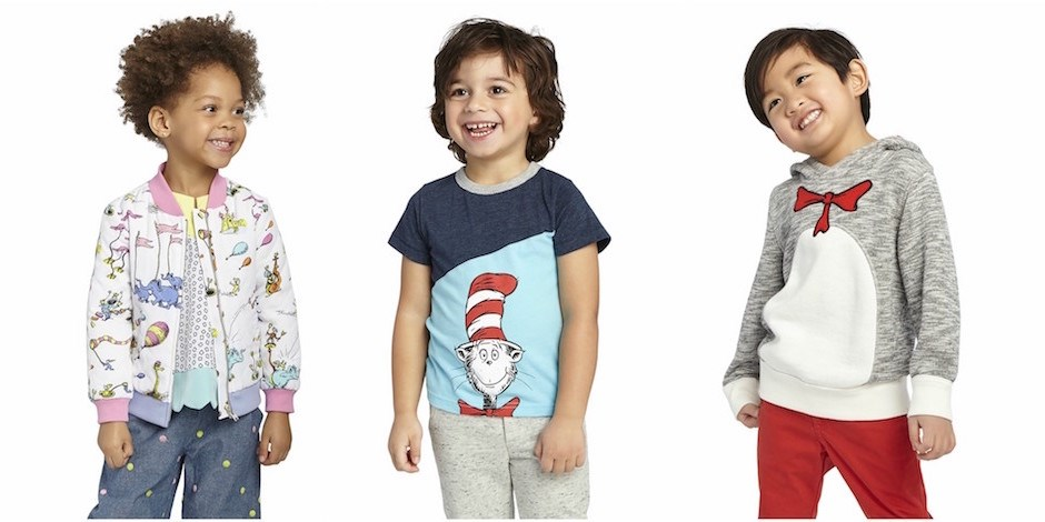 Kids wearing the Dr. Seuss clothing collection