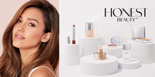 Image of Jessica Alba alongside Honest Beauty products