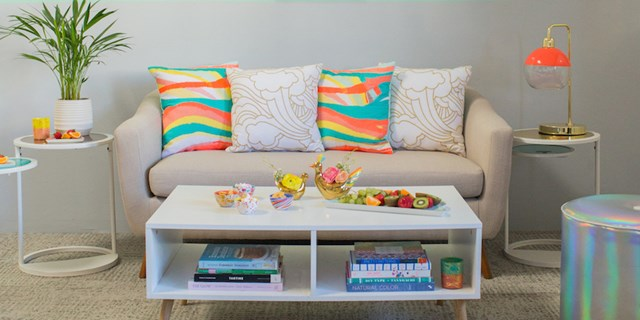 Image of a living room outfitted with Joy Cho Spring products