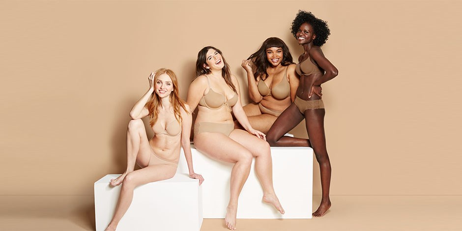 Models showing off different colors of the nudes collection