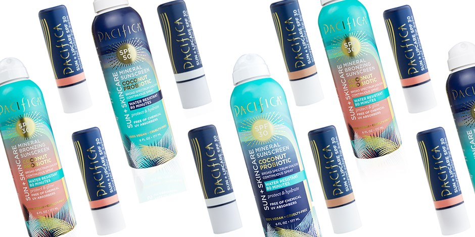 Collage of Pacifica Suncare products