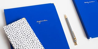 Cobalt blue and polka dot Sugar Paper planners