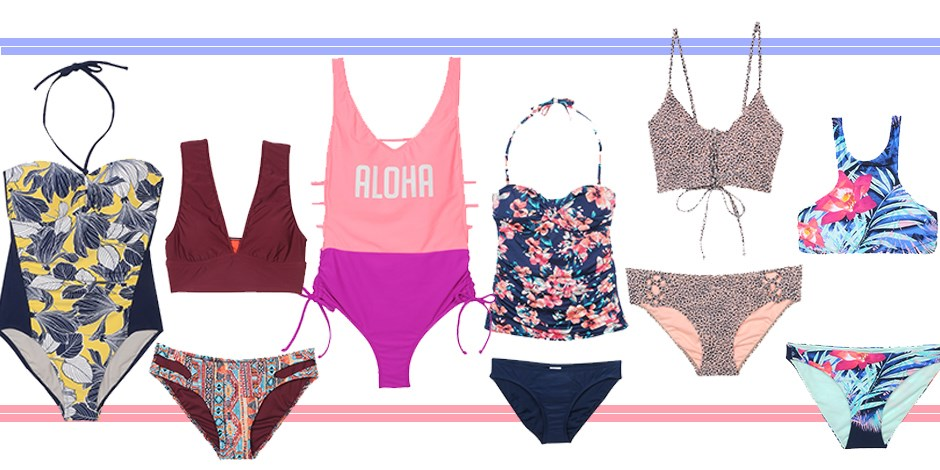 Collage of bathing suits from new Target swim collections