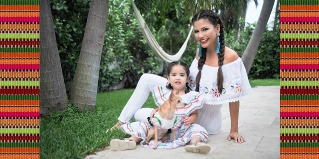 Ana Patricia and daughter Giulietta in china poblana outfits