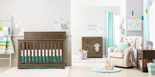 Baby nursery decked out in Cloud Island decor
