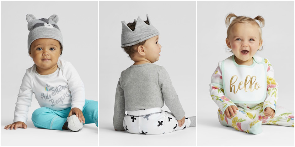 Three images of babies wearing Cloud Island layette items