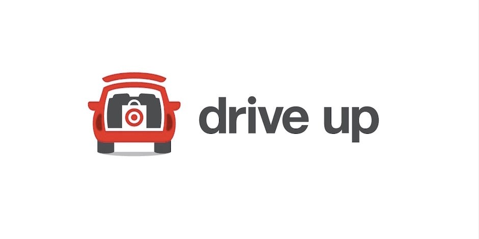 Drive Up logo of a red car with a target car in the back