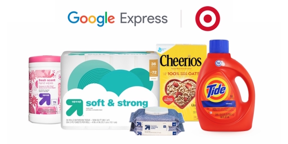 Target products with the Google Express and Target logos