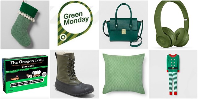 Photo collage of Green Monday logo and green Target.com products