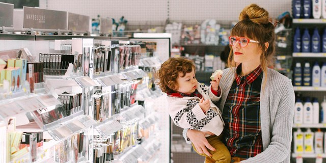Stefanie Degreff and her son shopping in the Target beauty aisles