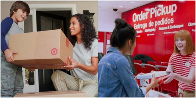 Photo collage, photo on left is Target package arriving, photo on right is store Order Pickup