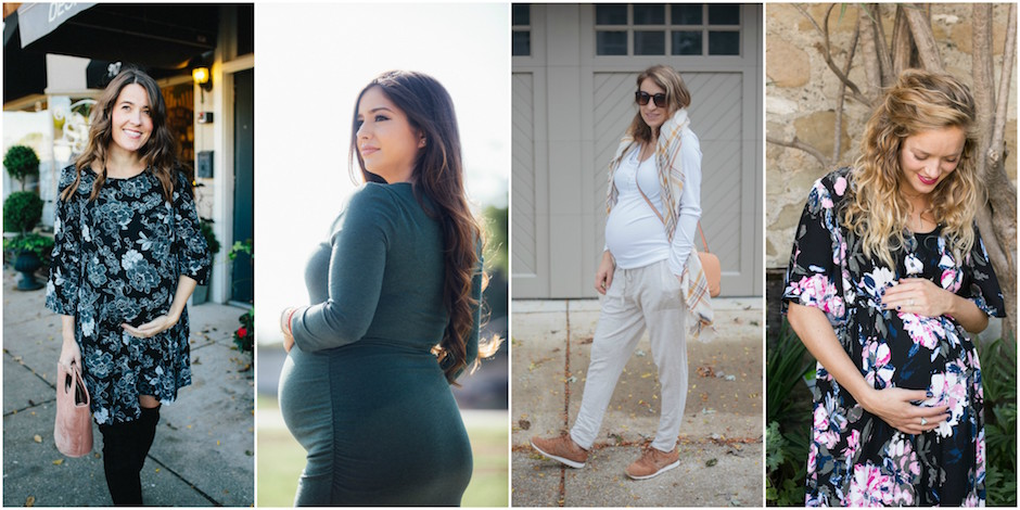 Collage of four expecting bloggers wearing Isabel Maternity