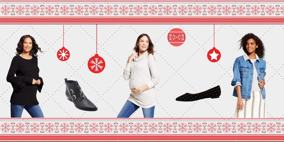 Holiday product collage graphic featuring Isabel Maternity items