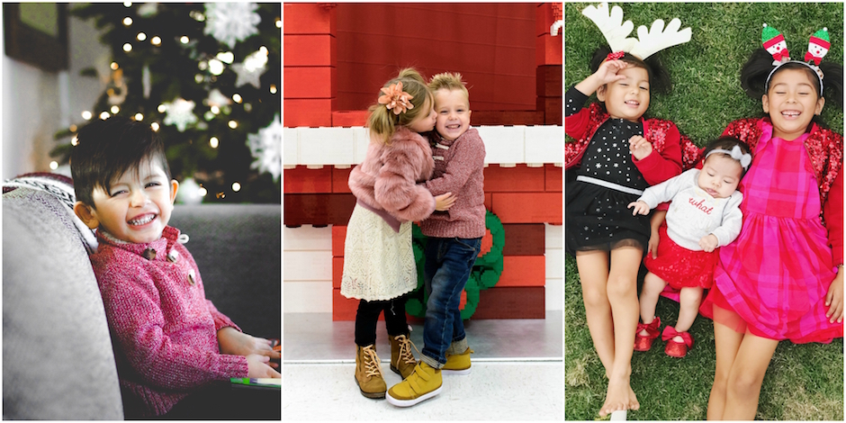 Image collage of three photos of kids wearing their Target holiday best