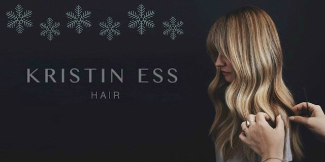 """Kristin Ess Hair"" next to a blonde woman with styled waves"
