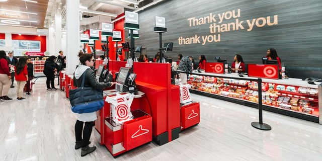 Self-checkout registers at a Target store
