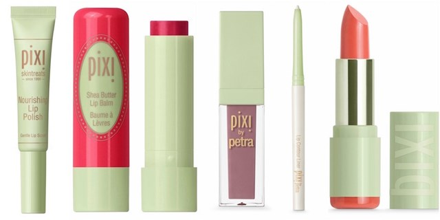 Image collage of different PIXI by Petra lip products