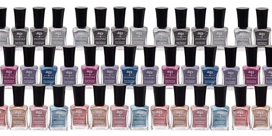defy & INSPIRE metallic nail polish collage