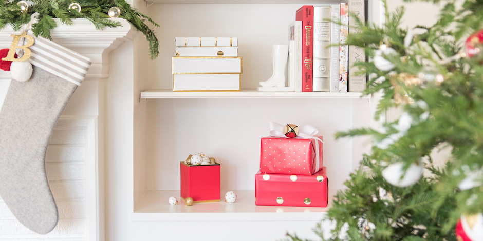 Holiday scene with Sugar Paper gift boxes and ornaments