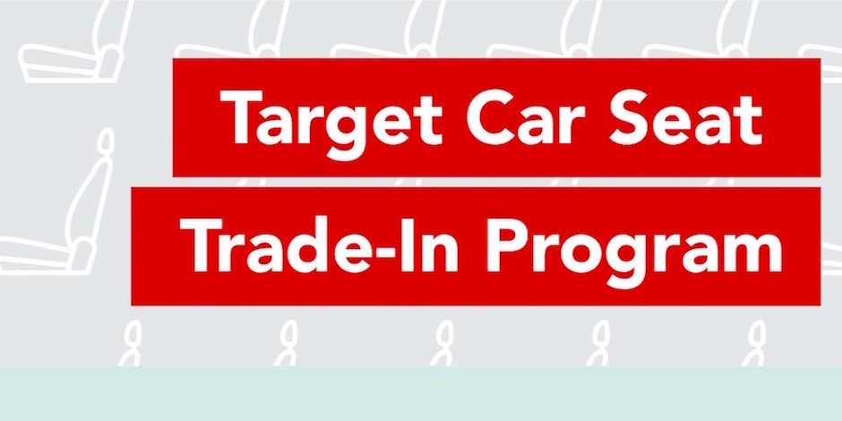 Target car seat trade-in program text on gray background