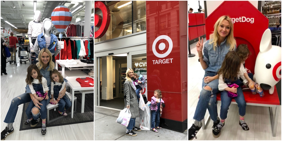 Photo collage of three images of Zanna and her daughters shopping at Target