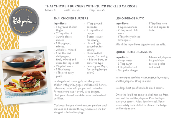 Thai Chicken Burgers with Quick Pickled Carrots recipe