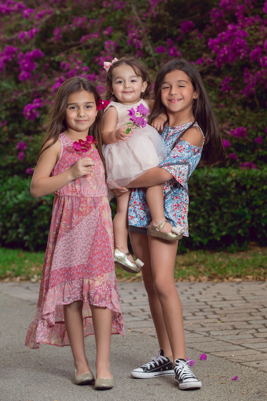 Barbara's three daughters showing off their Art Class looks
