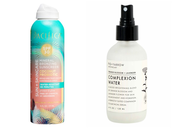 Pacifica Mineral Bronzing Sunscreen and Fig + Yarrow Complexion Water