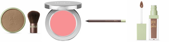 PIXI by Petra bronzer, Honest Beauty cream blush, PIXI by Petra eyeliner, PIXI by Petra liquid lipstick