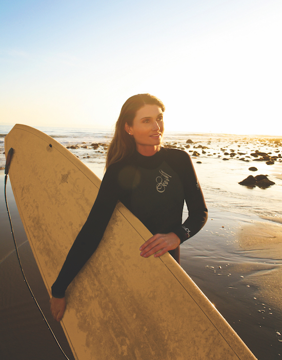 Brook Harvey-Taylor with her surfboard