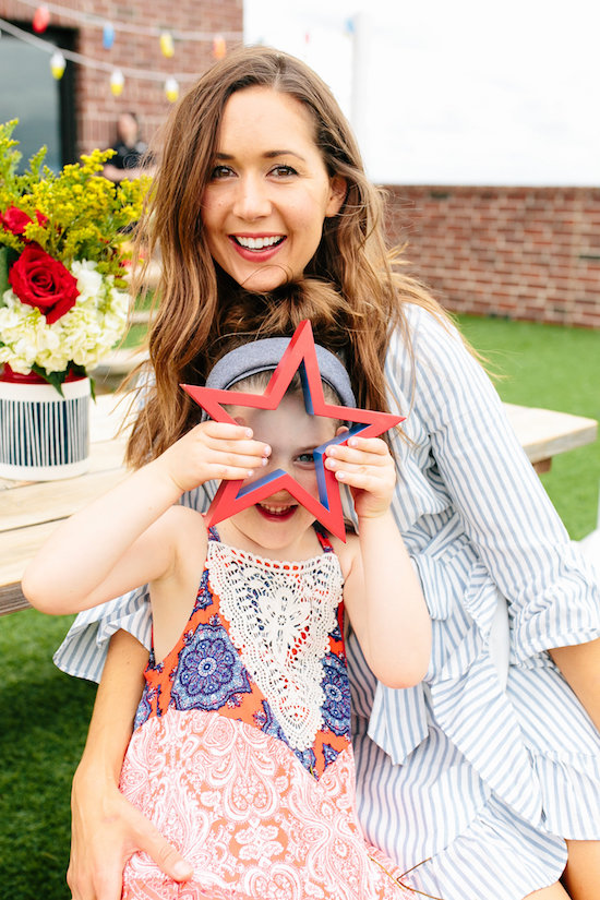 Camille and her daughter in their Fourth of July best