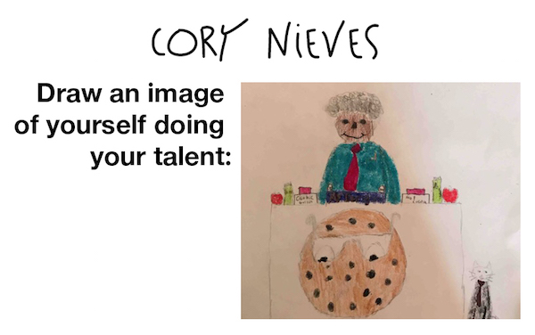 Illustration by Cory Nieves of himself selling cookies