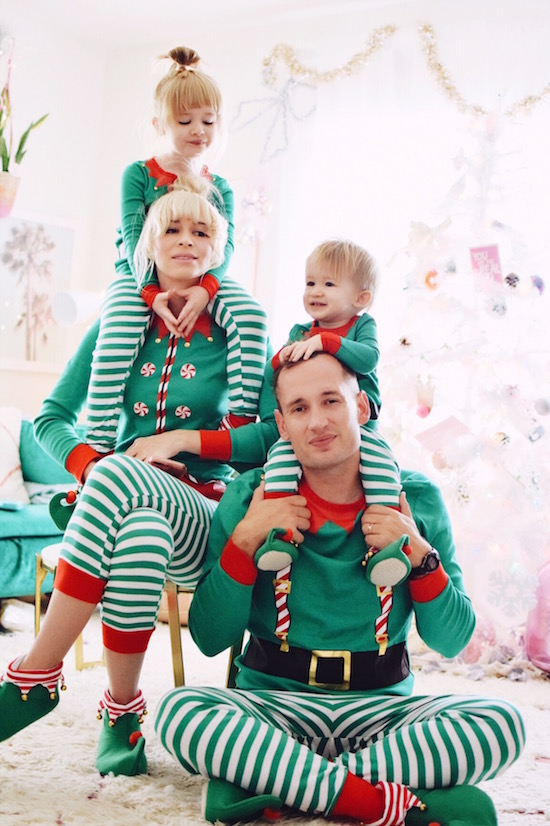 coury combs her children and husband wearing the elf family pajama collection - Family Pajamas Christmas