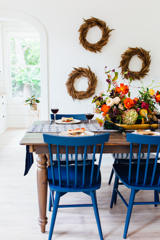 Dining room table set with Friendsgiving decor