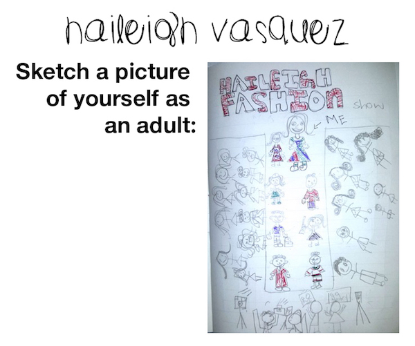 Haileigh Vasquez's illustration of herself as an adult
